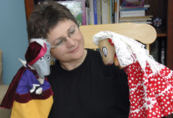 Lucia Gonzalez with Perez and Martina puppets